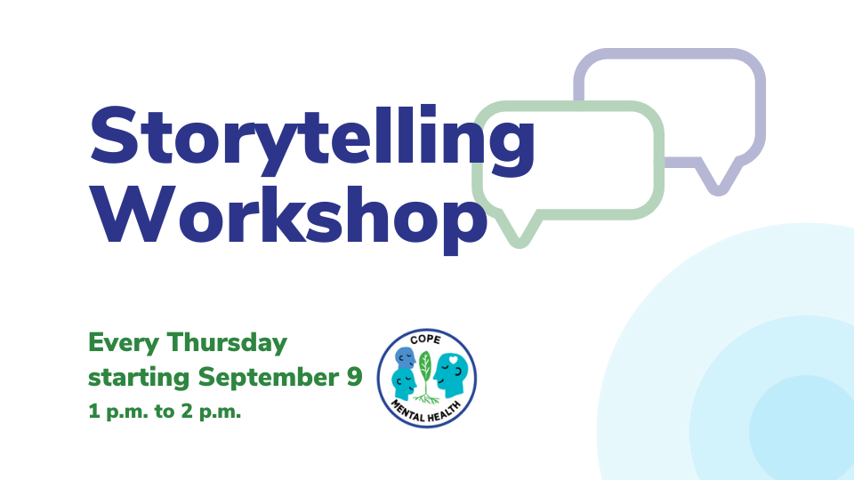 Storytelling Workshop Graphic. Every Thursday starting September 9 from 1 p.m. to 2 p.m.